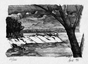 black and white print of lake and shoreline.
